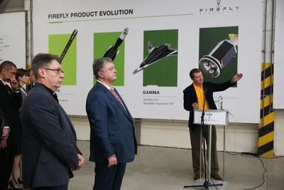 Left: John Isella, Firefly Director of International Business Development. Center: Petro Poroshenko, President of Ukraine. Right: Dr. Max Polyakov, Firefly founder