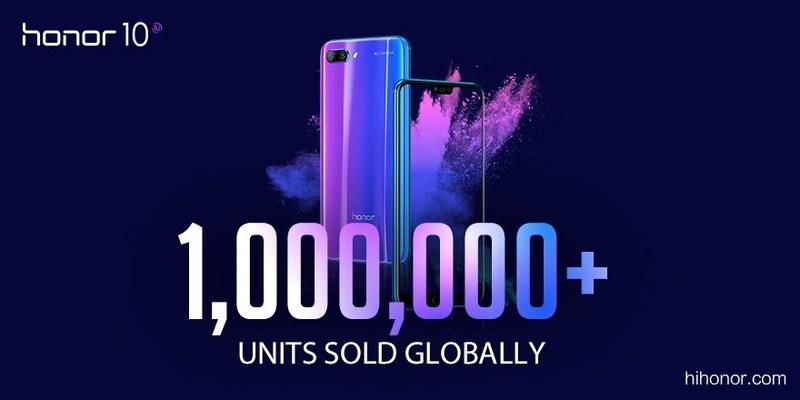 Honor 10 vendeu mais de 1 milhão de unidades (PRNewsfoto/Honor)