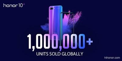 El Honor 10 llegó a más de 1 millón de unidades vendidas (PRNewsfoto/Honor)