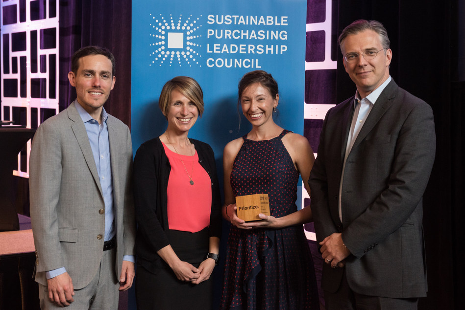 My Green Lab receives SPLC Public Interest Advocacy Leadership Award for the development of the ACT ecolabel. Allison Paradise, Executive Director of My Green Lab (second from right) accepts the award from Sam Hummel, CEO of SPLC (left), Johanna Kertesz, Sustainable Procurement Program Coordinator for the Minnesota Pollution Control Agency, and Jason Pearson, Founding President of SPLC (right). Photo credit:  Jo Julia Photography
