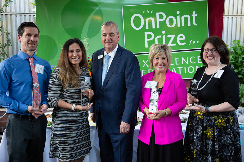 OnPoint Prize Educators of the Year and Finalists celebrate with OnPoint President/CEO, Rob Stuart. From Left to Right: Lucas Houck, Sandra Moreno, Rob Stuart, Janine Kirstein, Holly Neill.