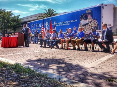 Robert Moeller of Children of Fallen Patriots Foundation speaks at the Bradenton, Florida Tropicana Headquarters stop of the 2018 PepsiCo Rolling Remembrance Relay