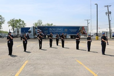 A local color guard team performs military honors at Lima, Ohio stop of the 2018 PepsiCo Rolling Remembrance Relay