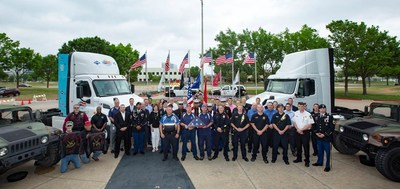 PepsiCo associates and other event attendees celebrate the Plano, Texas PepsiCo Parkwood Campus stop of the 2018 PepsiCo Rolling Remembrance Relay
