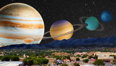 An interplanetary rendition of the Railyard District in downtown Santa Fe, New Mexico. Credited to Santa Fe Institute.