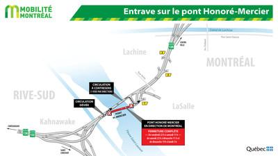 Entraves sur le pont Honoré-Mercier (Groupe CNW/Ministère des Transports, de la Mobilité durable et de l
