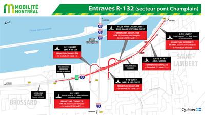 Entraves R-132 (secteur pont Champlain) (Groupe CNW/Ministère des Transports, de la Mobilité durable et de l
