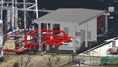Modeled  pipe  runs  and  housing  of  an  industrial  plant  in  As-Built™  for  AutoCAD®  Software
