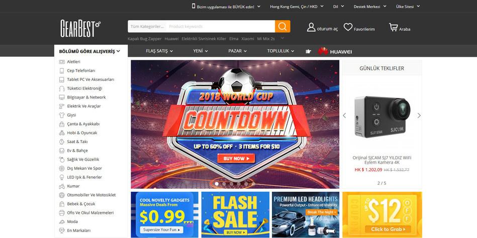 GearBest website homepage screenshot