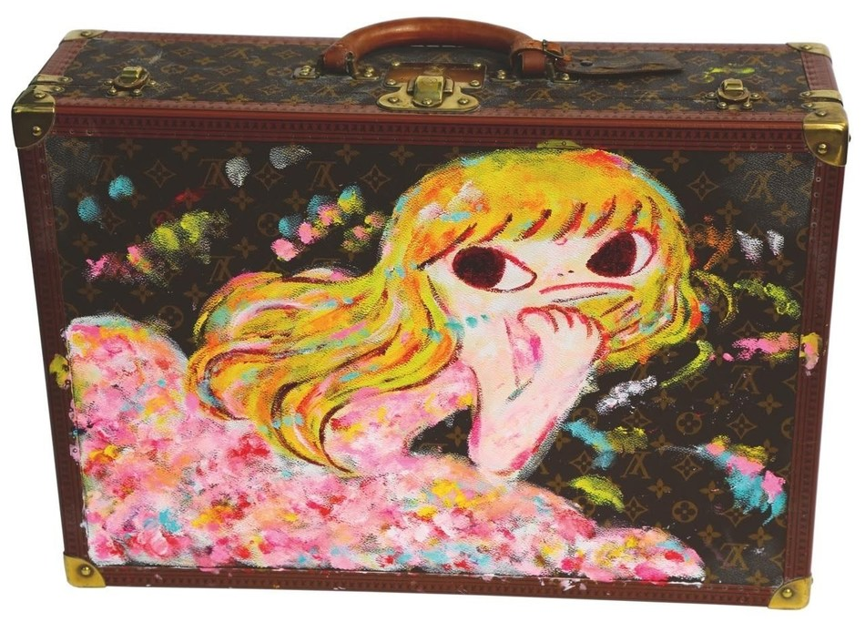 Ayako Rokkaku, 2017, acrylic on Louis Vuitton suitcase, 42 x 61 x 18 cm., signed and dated (PRNewsfoto/Gallery Delaive)