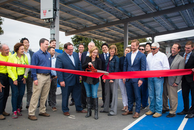 Representatives from Los Altos School District, ForeFront Power, TerraVerde Energy, and Sunworks celebrate the completion of solar projects across nine schools by cutting a ceremonial ribbon at an event at Oak Avenue Elementary School today.