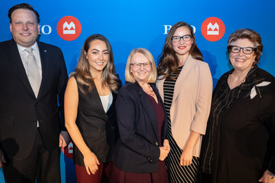 L - R: John MacAulay, Senior Vice President and Division Head, Prairies Central Canada, BMO Bank of Montreal; Giovanna Minenna, BMO Celebrating Women 2018 Expansion & Growth in Small Business Honouree – Winnipeg; Margaret von Lau, BMO Celebrating Women 2018 Community & Charitable Giving Honouree – Winnipeg; Lisanne Pajot, BMO Celebrating Women 2018 Innovation & Global Growth Honouree – Winnipeg; Susan A. Thompson, entrepreneur, author, life coach, mentor, Canadian diplomat. (CNW Group/BMO Financial Group)