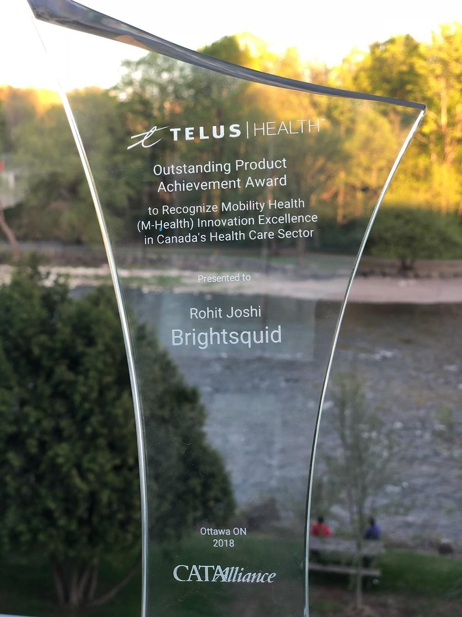 TELUS Outstanding Product Achievement Award to Recognize Mobility Health Innovation Excellence won by Brightsquid. (CNW Group/Brightsquid Secure Communications Corp.)