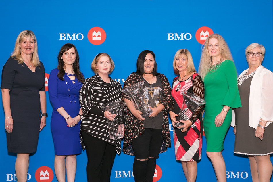 Allison Hakomaki, Head, Corporate Finance, Prairies Division; Marcia Lemon, VP, Business Banking, Saskatoon; Dr. Carla Matz , BMO Celebrating Women 2018 Expansion & Growth in Small Business Honouree; Rene L'Heureux, BMO Celebrating Women 2018 Community & Charitable Giving Honouree; Betty Anne Latrace-Henderson, BMO Celebrating Women 2018 Expansion & Growth in Business Honouree; Colleen Wilson, EVP, Legal Affairs, Mid-West Group of Companies; Donna Francis, Regional VP, Saskatoon Rural North. (CNW Group/BMO Financial Group)