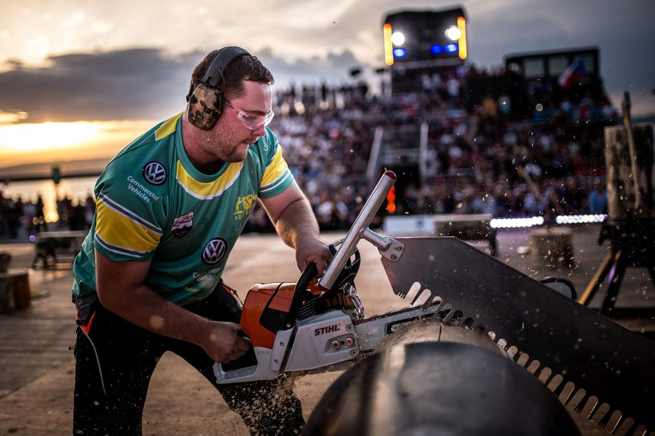 Mitch Argent from Australia, here at the Stock Saw event, came in third. (PRNewsfoto/Stihl TIMBERSPORTS Series)