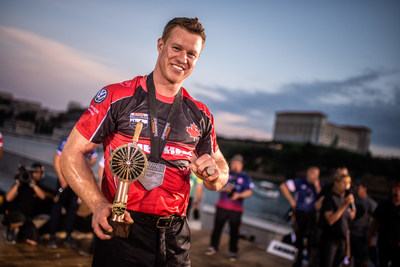 Canadian Stirling Hart wins the 2018 STIHL TIMBERSPORTS Champions Trophy competition in Marseilles, France on May 26, 2018. (CNW Group/STIHL TIMBERSPORTS)