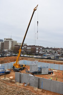 Superior Walls precast concrete foundation starts the construction of the new police department in Vineland, New Jersey.