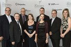 "Representatives from Prevost were present to receive the Pleiades award in the category ""Rayonnement hors Québec"". (CNW Group/Prevost)"