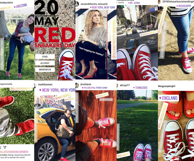 Images of posts from around the world on International Red Sneakers Day