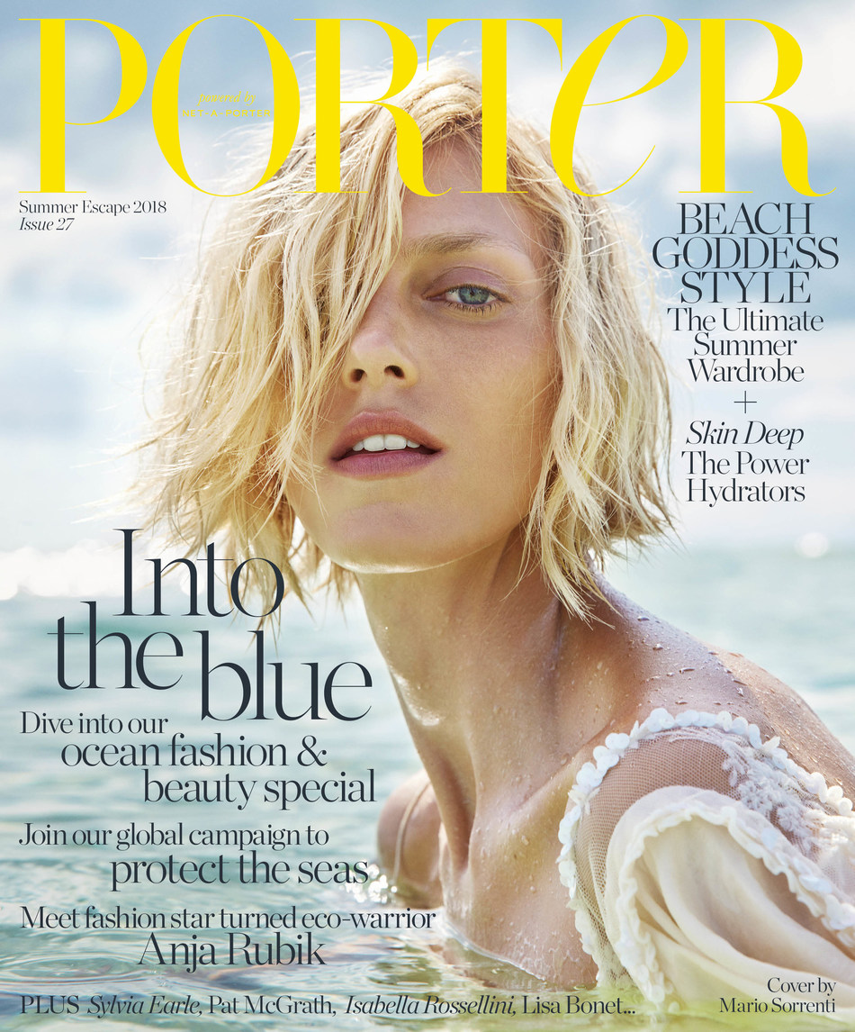 Anja Rubik wears dress by YSL photographed by Mario Sorrenti for PORTER.