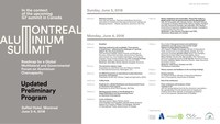 Montreal Aluminium Summit - Updated Program - June 3-4, 2018 (CNW Group/Aluminum Association of Canada)