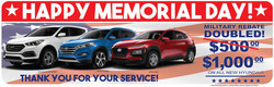 Cocoa Hyundai's Memorial Day Military Rebate is going on now through the end of the month, don't miss your chance to take advantage!