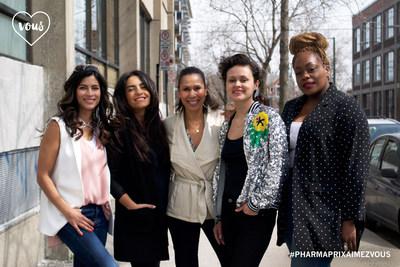 Virginie Coossa, Alexandra Diaz, Isabelle Racicot, Lolitta Dandoy et Gerardine Jeune, fières ambassadrices de PHARMAPRIX AIMEZ. VOUS. 2018. (Groupe CNW/Pharmaprix)
