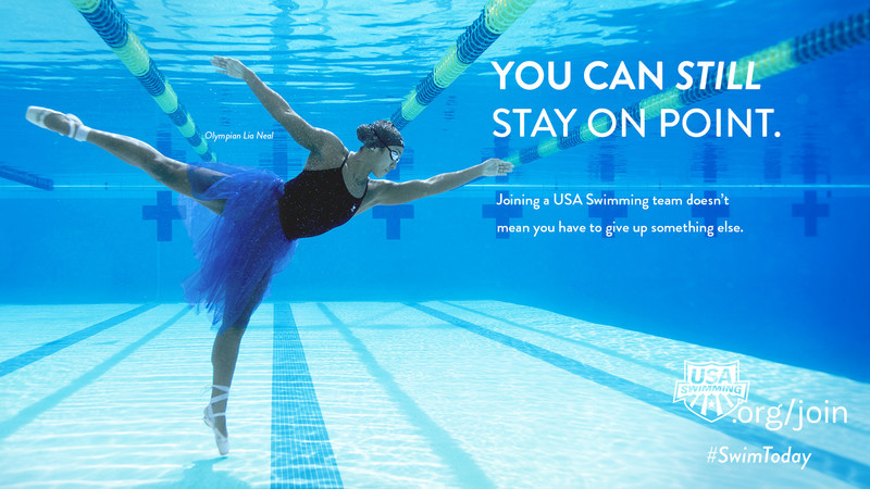 Two-time Olympian Lia Neal features in USA Swimming's new SwimToday membership campaign.