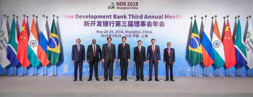 NDB President K.V. Kamath, senior representatives of BRICS countries and the Mayor of Shanghai at the Opening Ceremony of the NDB 3rd Annual Meeting in Shanghai, China, May 28, 2018