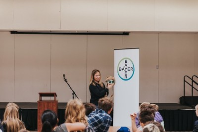 Jennifer Maloney, Food Chain & Sustainability Manager at Bayer talks to fourth graders at Barnett Elementary School in Ramona, California.