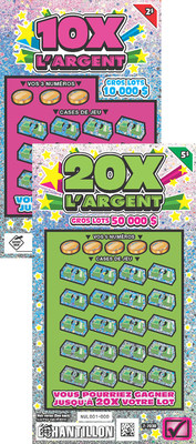 Loto-Quebec's 10X and 20X L'ARGENT multiplier family of games. (CNW Group/Pollard Banknote Limited)