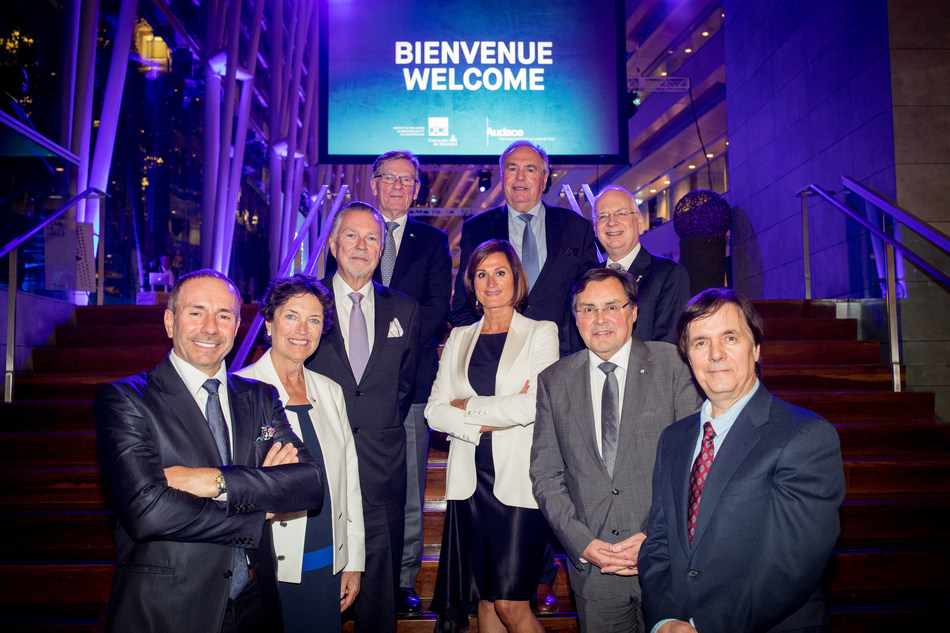 Members of the Financing Committee, Co-chairs, dignitaries: Pierre Pomerleau, Louise Roy, Jean La Couture, Robert Lacroix, Nathalie Palladitcheff, Robert Tessier, Dr Guy Breton, Michel Bouvier, Dr Claude Perreault. Absent in the photo, Jacques Bernier, Lucie Rémillard, Steven Klein. (CNW Group/Institute for Research in Immunology and Cancer - Commercialization of Research (IRICoR))