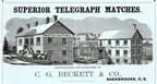 J. Walker (dessin), publicité de la manufacture d'allumettes C. G. Beckett & Co., Eastern Townships Gazetteer, 1867. BAnQ Sherbrooke, collection Freeman Clowery (P14). Détail. (Groupe CNW/Bibliothèque et Archives nationales du Québec)