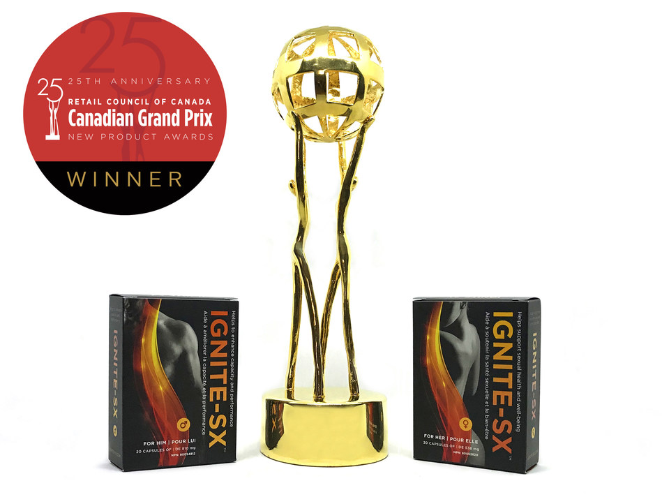 Ignite-SX has been awarded the Grandprix Award for the 2017 Best New OTC Product by the Retail Council of Canada (CNW Group/Namëna Biosciences)