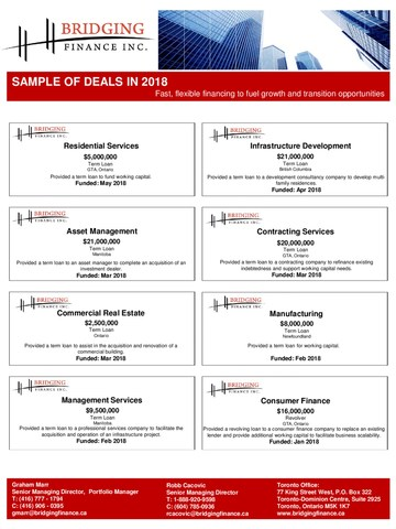 Sample of 2018 Deals (CNW Group/Bridging Finance Inc.)