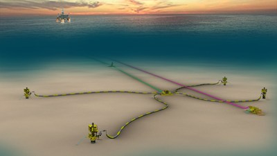 Schematic of Shell's Kaikias project in the US Gulf of Mexico, which is an economically resilient, subsea development with an estimated peak production of 40,000 barrels of oil equivalent per day (boe/d). Kaikias is started production approximately one-year ahead of schedule.
