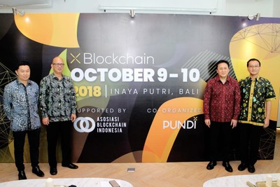 (Left-right) Steven Suhadi, Chairman of Association Blockchain Indonesia, Constantin Papadimitriou, co-founder of XBlockchain and President of Pundi X, Triawan Munaf, Head of The Indonesian Agency of Creative Economy (BEKRAF) and Yos Ginting, supervisory board member launched XBlockchain Summit in a press conference in Jakarta, Indonesia on May 30, 2018.