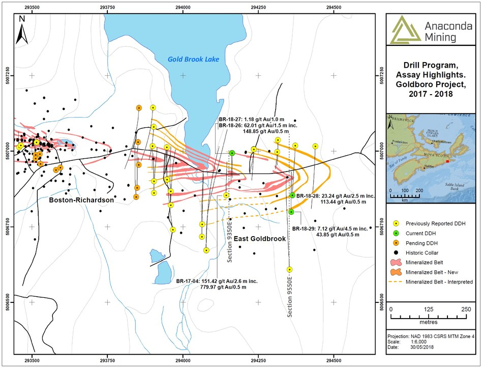 Exhibit A.  A map showing the location of section 9350E and 9550E and the associated drill collars and assay highlights within the EG Gold System. (CNW Group/Anaconda Mining Inc.)