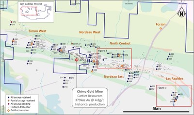 Figure 1- East Cadillac Gold Project showing diamond drilling locations and assaying progress to 25 May 2018 (CNW Group/Chalice Gold Mines Limited)