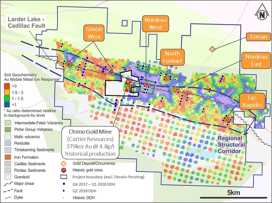 Figure 6- East Cadillac Gold Project MMI Geochemistry (2017) (CNW Group/Chalice Gold Mines Limited)