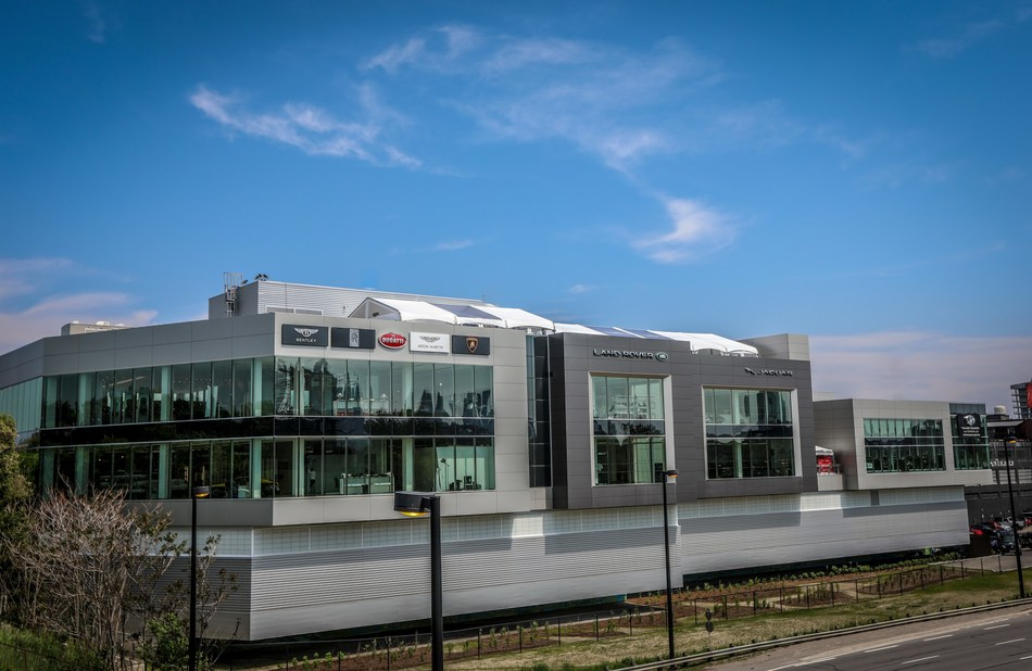 The 141,000-square-foot, five-floor dealership is the new home to super luxury automotive in Canada. Officially launching today in downtown Toronto, it proudly represents Aston Martin, Bentley, Bugatti, Lamborghini and Rolls-Royce Motor Cars along with luxury segment stalwarts Jaguar and Land Rover. (CNW Group/Grand Touring Automobiles)