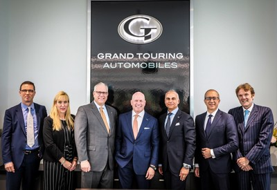 Senior executives descend on Toronto to officially launch the stunning new Super Luxury showrooms at Grand Touring Automobiles. From left to right: Mr. Christian Marti, Global Chief Sales Officer & Vice President, Aston Martin Lagonda Ltd.; Ms. Laura Schwab, President, Aston Martin of The Americas; Mr. Paul Cummings, Dealer Principal and CEO, Grand Touring Automobiles; Mr. Todd Tweedy, General Manager, Northern Region Rolls-Royce Motor Cars NA, LLC; Mr. Paul Cummings, Dealer Principal and CEO, Grand Touring Automobiles; Mr. Mark Del Rosso, President and COO, Bentley Motors Inc.; Mr. Alessandro Farmeschi, CEO Americas Region for Automobili Lamborghini S.p.A.; Mr. Maurizio Parlato, COO of Bugatti of Americas (CNW Group/Grand Touring Automobiles)