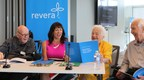 Hazel McCallion, Revera's Chief Elder Officer, reviews the Revera Report on Innovation & the Aging Experience with Trish Barbato, Revera's SVP Innovation and Strategic Partnerships, and Revera's Resident Innovation Ambassadors, Bill Jarvis (left) and Dennis Champ (right). (CNW Group/Revera Inc.)