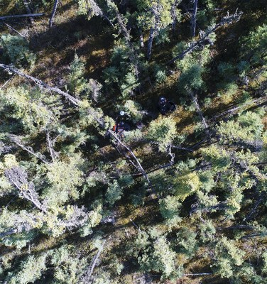 Drone image of Explor PinPoint team acquiring Ultra High Density 3D seismic data in the boreal forest, oil sands region.  Photo Credit: Explor (CNW Group/Explor)