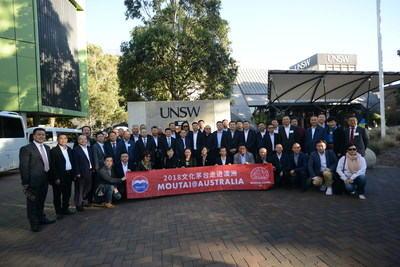 The representative of the Moutai group take a group photo at the University of New South Wales. (PRNewsfoto/Kweichow Moutai Co.,Ltd)