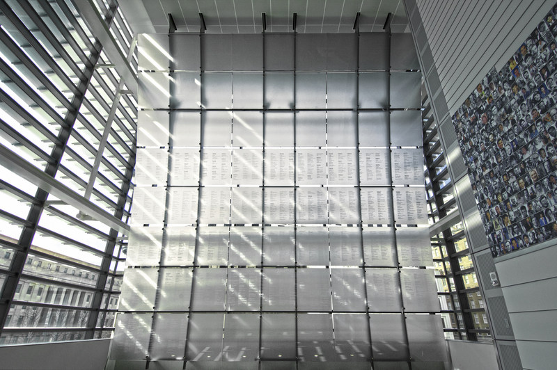 The Journalists Memorial at the Newseum is a soaring two-story glass structure etched with the names of more than 2,000 journalists who have died or been killed while reporting the news. On June 4, 2018, the names of 18 journalists were added to the memorial to represent all those who died in pursuit of the news in 2017.
