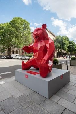 A red panda sculpture by French artist Richard Orlinski.