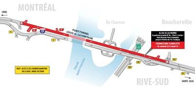 Principales entraves sur le réseau routier de la région de Montréal ce soir et la fin de semaine (Groupe CNW/Ministère des Transports, de la Mobilité durable et de l