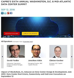 Registration is Open for CapRate's 6th Annual Washington, D.C. & Mid-Atlantic Data Center Summit on September 12. Join 500+ data center real estate and technology infrastructures executives for important industry discussion, debate and networking.