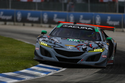 Katherine Legge piloted her Meyer Shank Racing Acura NSX GT3 to victory Saturday at the IMSA Grand Prix of Detroit.